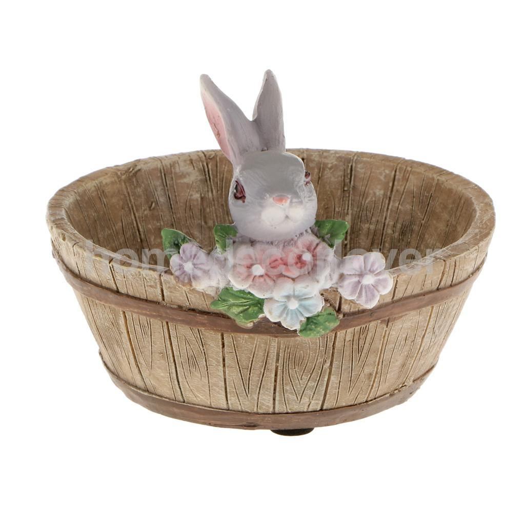decorative bunny rabbit resin flower cactus herbs sedum succulent pot planter bonsai trough box. Black Bedroom Furniture Sets. Home Design Ideas