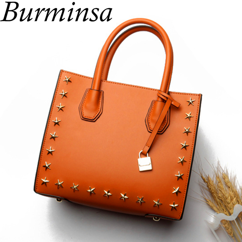 Burminsa Stars Rivets Genuine Leather Bags Small Lock Tote Designer Handbags High Quality Shoulder Crossbody Bags For Women 2018 hongu genuine leather crossbody shoulder bags for women designer handbags high quality small square casual side purse