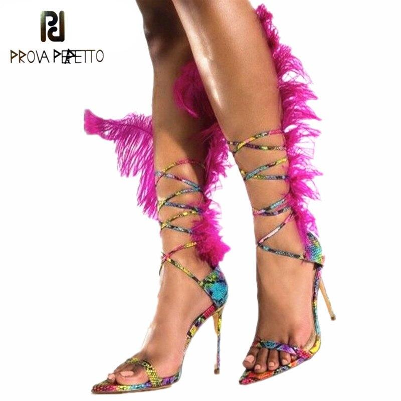 Prova Perfetto été plume sandales femmes autruche cheveux décor haut talon Sandalia Feminina gladiateurs sandales fourrure fête chaussures
