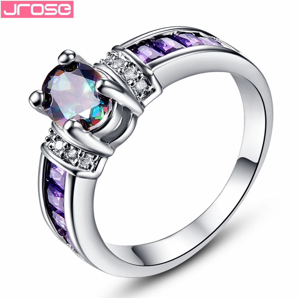 JROSE Brand  Wholesale Size 6 7 8 9 10 11 12 13 Purple & Rainbow & White CZ Jewelry White Gold Color Ring Wedding Fashion Gift