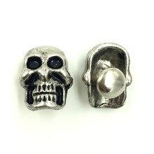 100Sets Antique Silver Tone Punk Skeleton Skull Garment Spike Studs Spots Rivets DIY Crafts Shoes Making 15x15mm