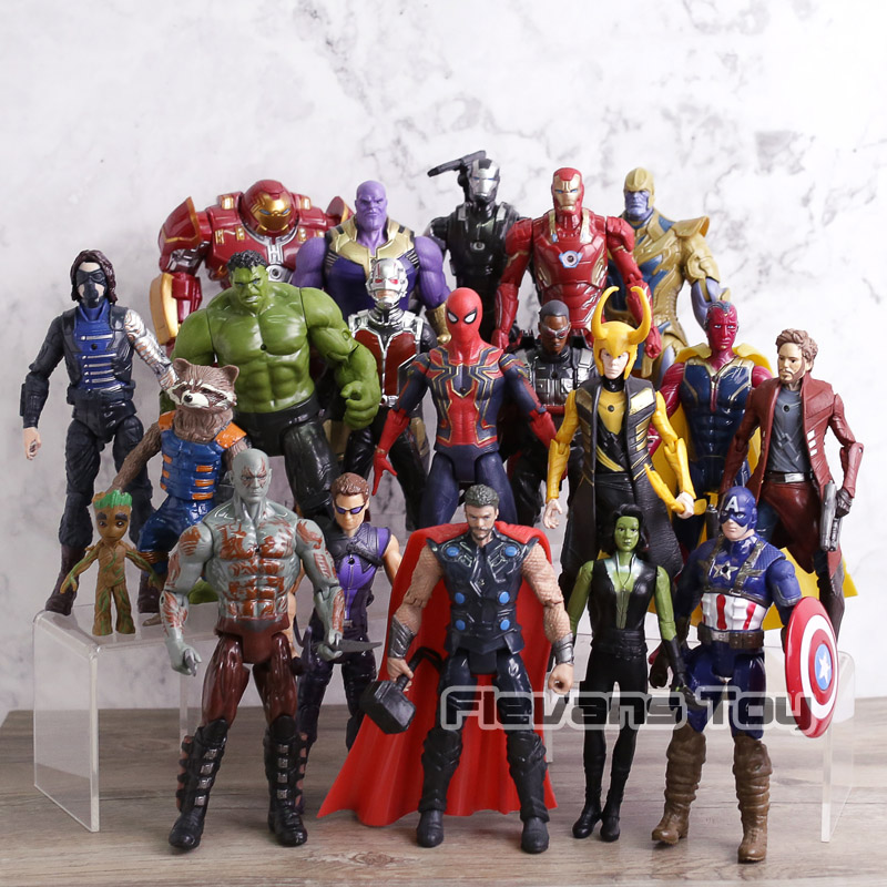 Marvel Avengers 3 Infinity War Action Figures Iron Man Captain America Hulk Thor Thanos Spiderman Loki Black Panther Hulkbuster 6pcs set the action figures batman spider man iron man hulk thor captain america action toy figures boys girls toy