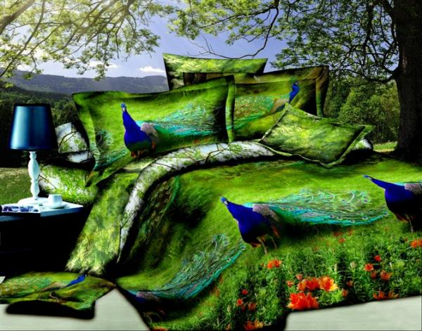 3d Green Peacock Bird Print Design Bedding Set Queen Size