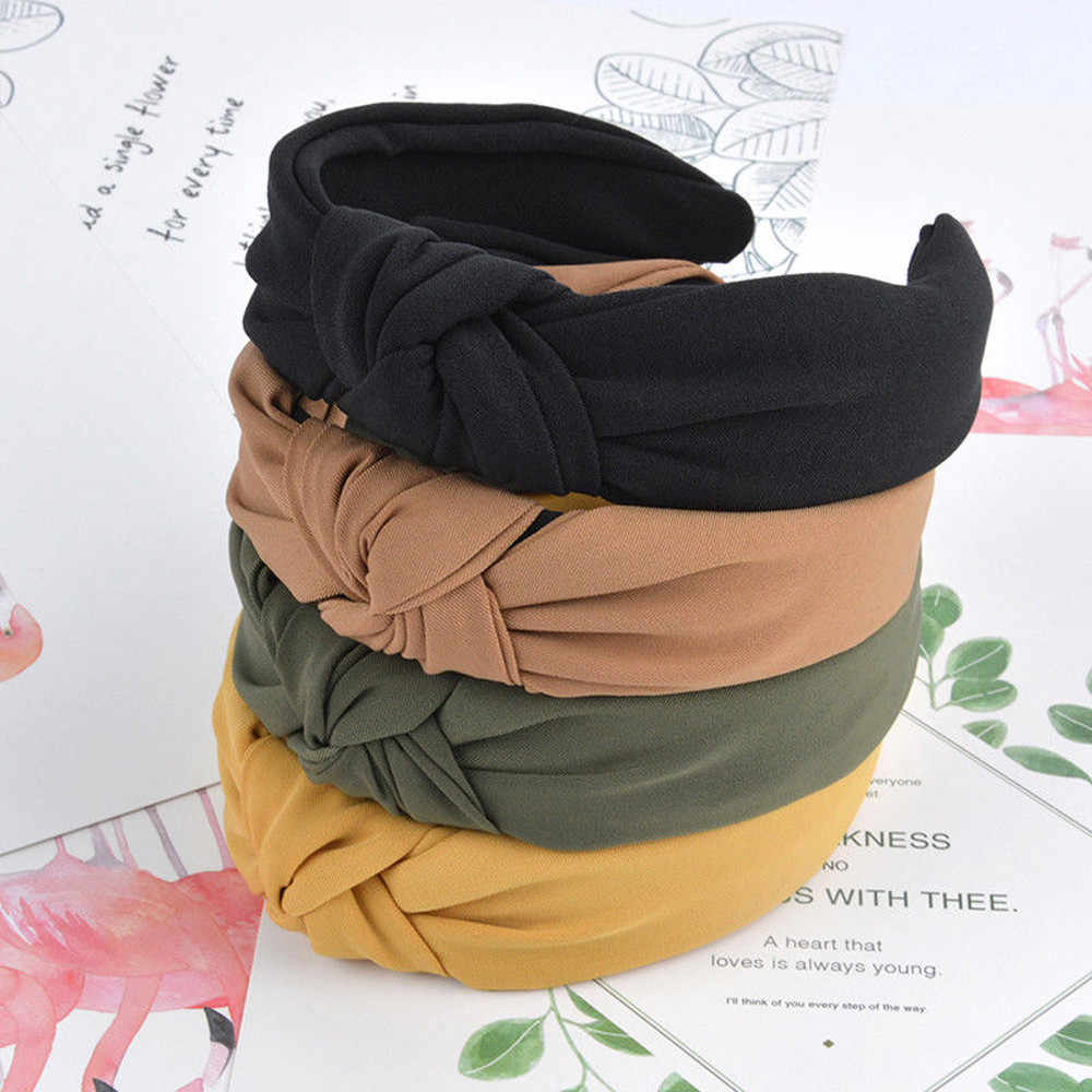 Fashion Womens Bow Knot Hairband Solid color Cross Knot Women Hair Head Hoop Simple Sweet Girls Hair Headband Hair Accessories