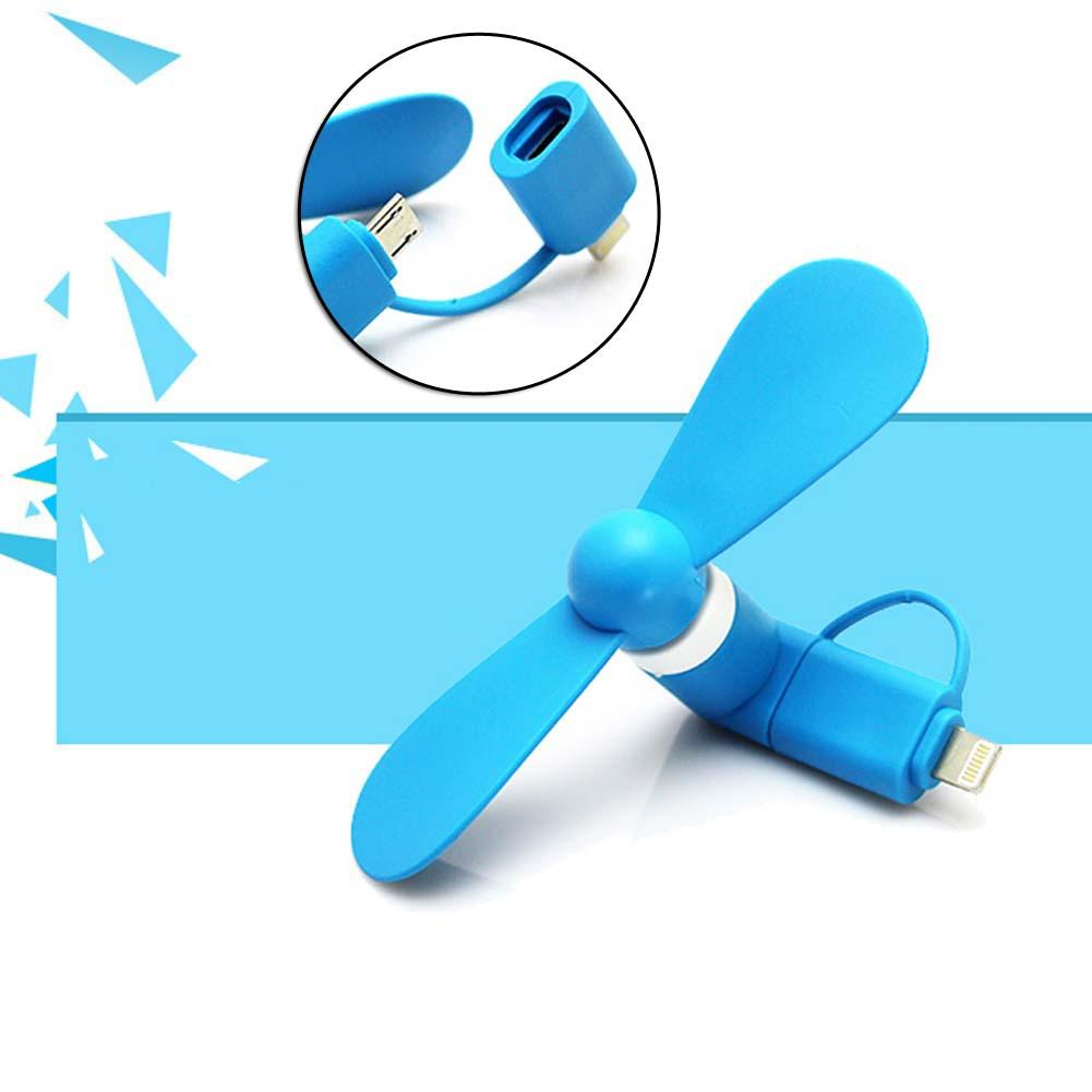 Mini Chic Micro USB Port Electric Fan Cooling Tool For iPhone Android Blue