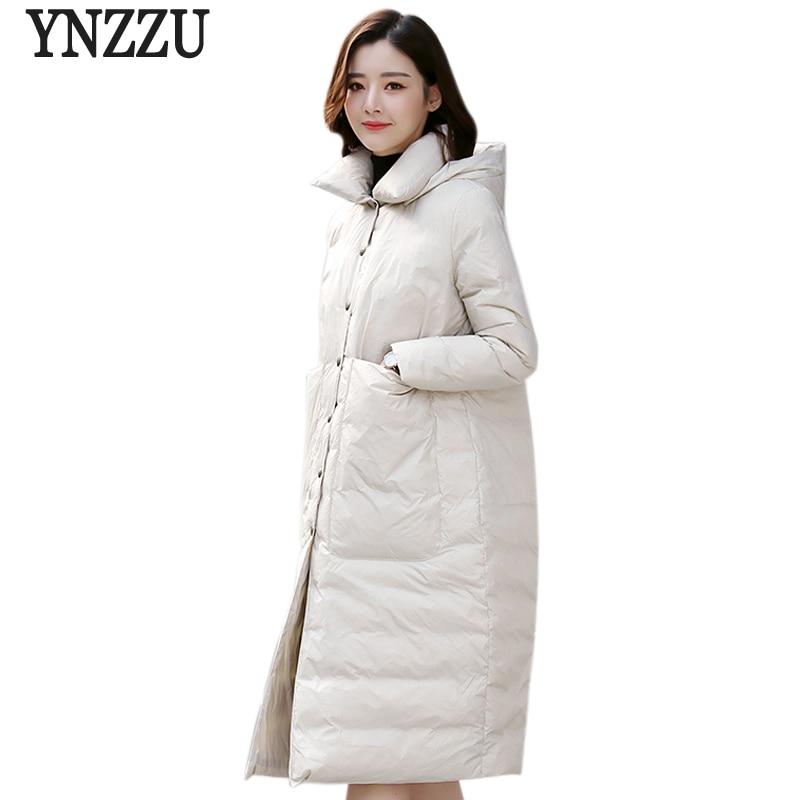 YNZZU New Winter Women's   Down   Jacket Elegant Solid Long White Goose   Down     Coat   Large Pockets Thick Warm Loose Women Outwear O721