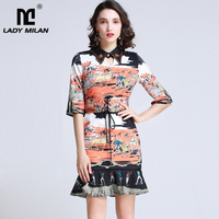 2019 Women's Runway Dresses Turn Down Collar Rhinestones Short Sleeves Ruffles Printed Elegant Mermaid Casual Dresses