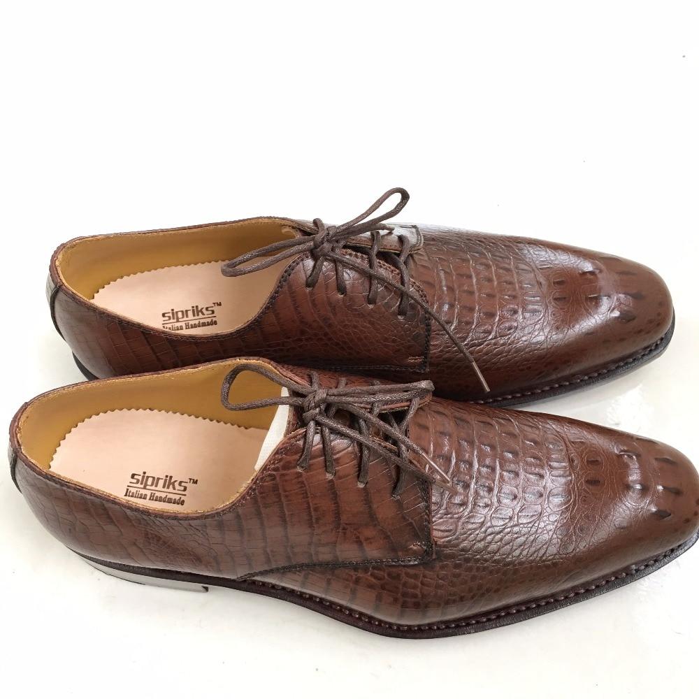 Handmade Crocodilo Sola Pele Sapatos Sipriks Mens Italiano Welted Goodyear Tan Masculinos Brown Patrão Ternos De Couro A Gents 5Pqwpgq