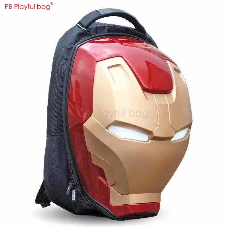 Мода Железный Герой 3D голова модель люминесцентный рюкзак Новинка глаз светящаяся сумка новые подарки периферийные Дети Любимые Подарки ... - 2