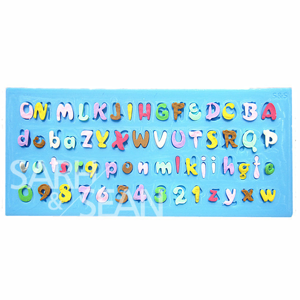 M0777 numbers and letters alphabet c fondant cake molds for Gardening tools 6 letters