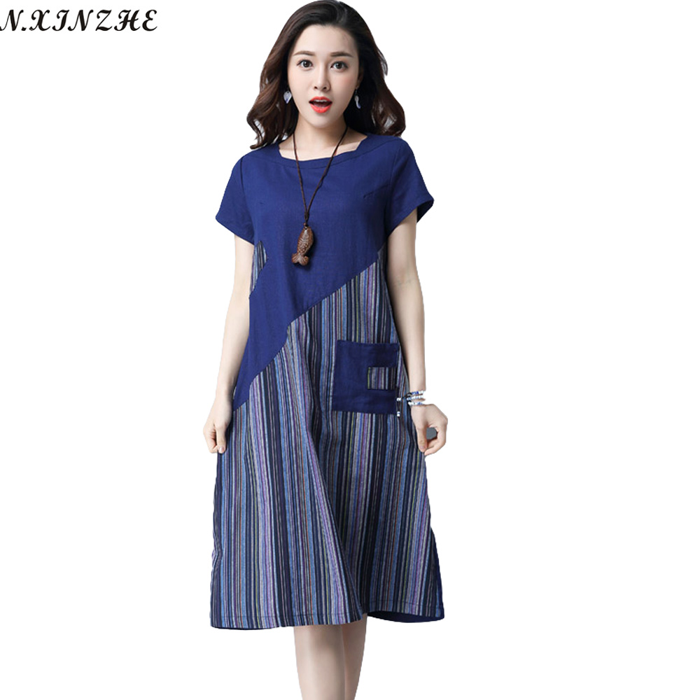 N.XINZHE Cotton and Linen dress Women 2017 summer Vintage Striped Patchwork Pockets  Loose Casual dresses vestidos