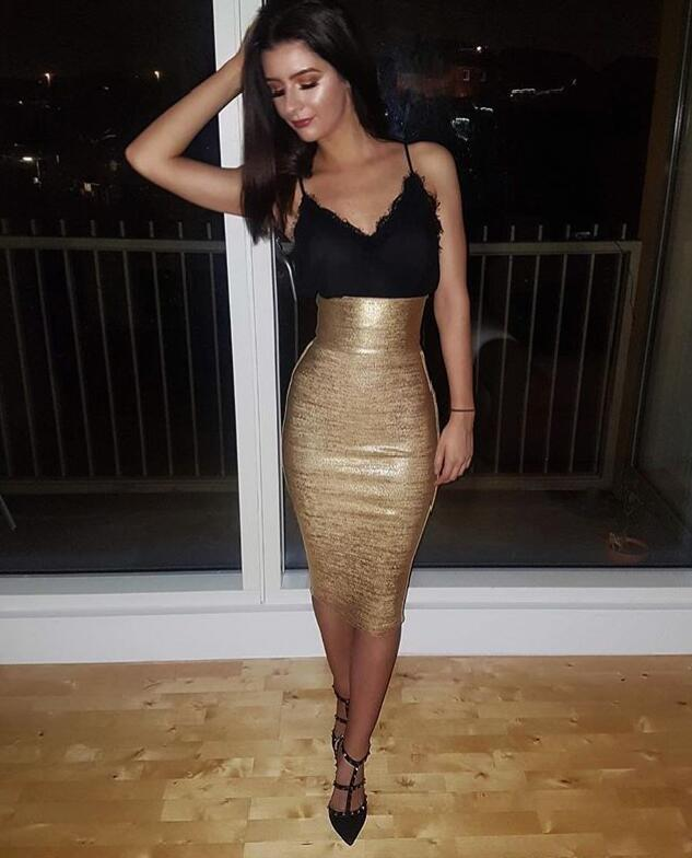 Newest Sexy Gold Bronzing Bandage Skirt 2020 Knitted Sweet Designer Pencil Skirt