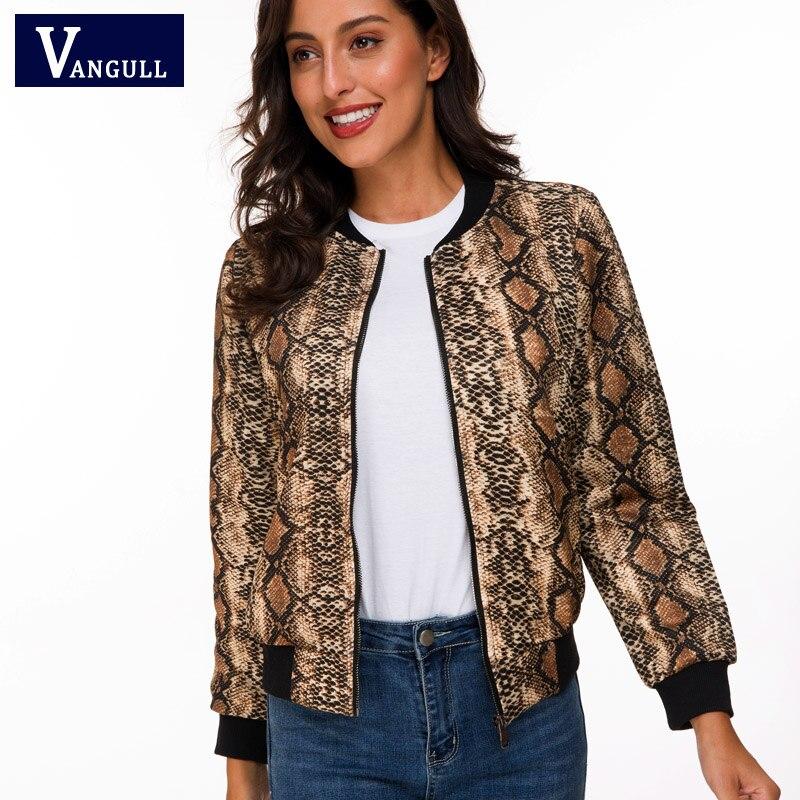 Vangull Snake Skin Print Zipper Closure Sreetwear Women Jackets 2019 Brand Spring New Long Sleeve Casual Baseball Jackets