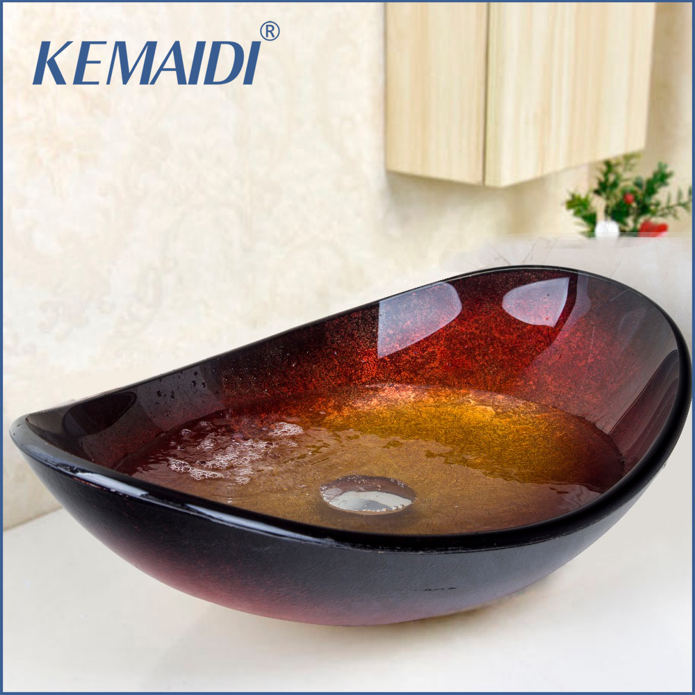 KEMAIDI Bathroom Vessel Sink Faucet Artist Tempered Glass Bathroom Designer Vessel Sink Basin Bowl With Pop Up Drain Bathroom pop up waste vanity vessel sink drain without