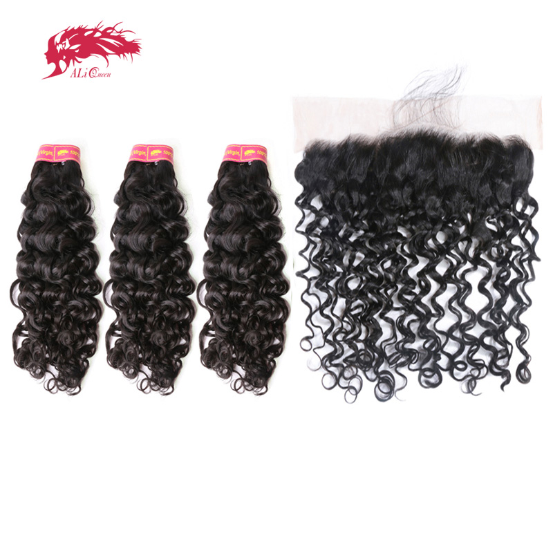 Ali Queen Hair Brazilian Virgin Hair Water Wave Pre Plucked Lace Frontal Closure With Bundle 3