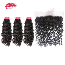 Ali Queen Hair Brazilian Virgin Hair Water Wave Pre Plucked Lace Frontal Closure With Bundle 3 Bundles Human Hair With Frontal