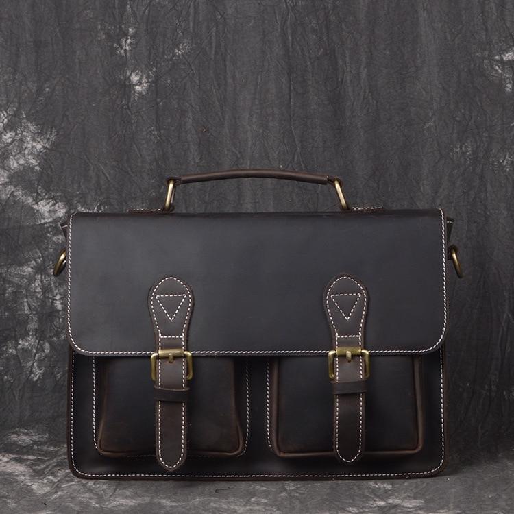 Crazy Horse Genuine Leather Mens Handbag New Fashion Briefcase Messenge Shoulder Bag High Quality& Capacity Laptop Bag