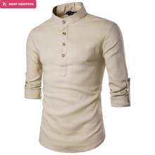 New casual fashion, European color, long sleeved solid Henry collar large yards of hemp shirt