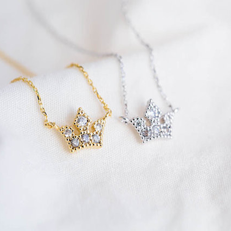 30PCS/lot Fashion rhinestone necklace Noble crown necklaces for women wholesale and mixed color free shipping