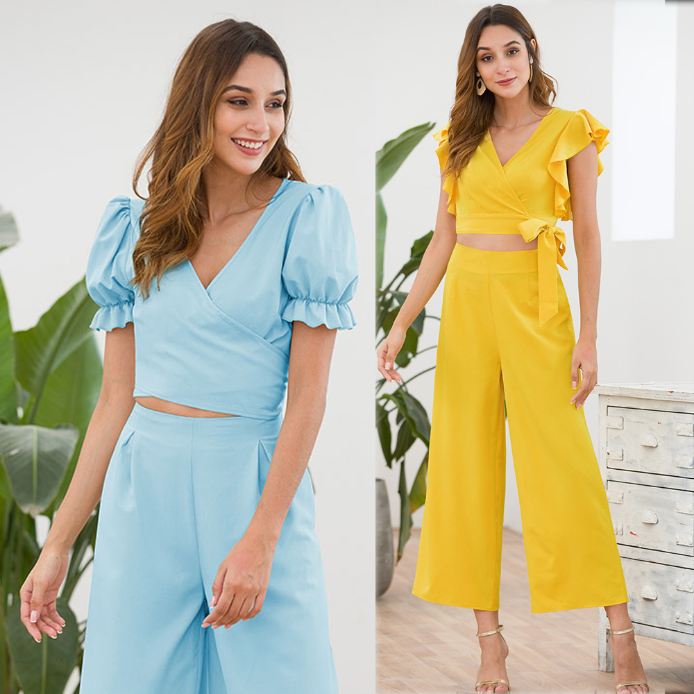 Women 2019 Summer Fashion Yellow Two Piece Outfits Ruffles V neck Co ord Set Shorts Crop Top and Wide Pant Suits Batwing Sleeve in Women 39 s Sets from Women 39 s Clothing