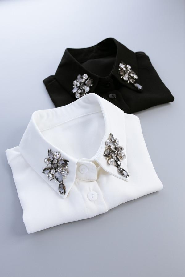Glass Cross Shirt Belt Collar Necklace Colli Shirt Fake Collar Sweater cotton cloth pointed collar shirt collar peter pan detach