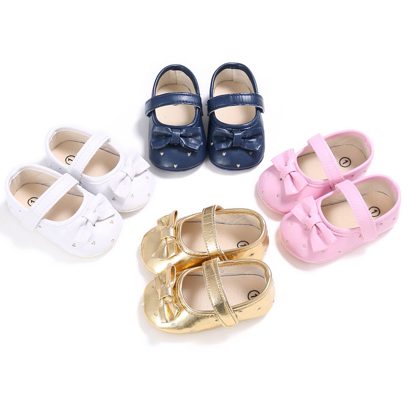 0-1 Years Old Female Baby Solid Color Princess Shoes Soft Bottom Baby Toddler Shoes