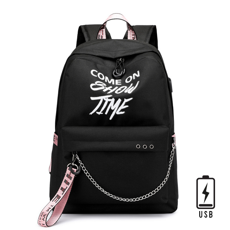 Backpacks Rucksack Laptop Travel-Shoulder-Backpack School-Bags Usb-Charge Girls Luminous-Print