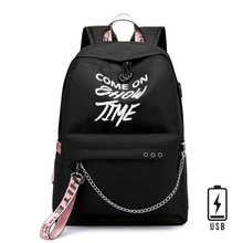Fashion Luminous Print Letter Women School Bags USB Charge B