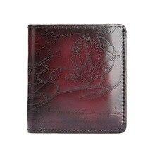 TERSE_10MOQ for sale men mini handmade genuine leather short wallet engraving fashion customize logo wallet factory price