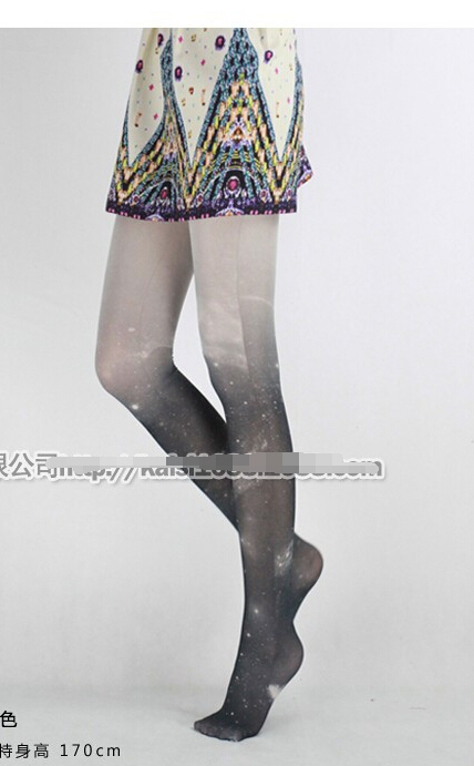 12pcs /lot free shipping japanese style woman Shiny Pantyhose with Gradient Stars swan velet printing tights free size