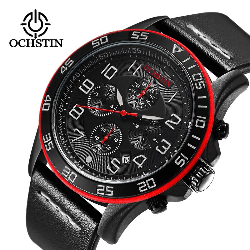 2017 Férfi órák Luxus Top márka OCHSTIN Sport Chronograph divat férfi ruha bőr öv óra vízálló kvarc karóra
