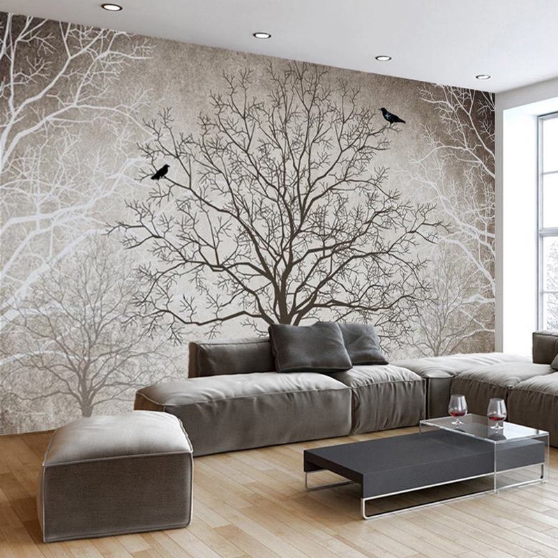Retro Abstract Tree Branches Bird Large Murals Custom 3D Photo Wallpaper Living Room Sofa TV Background Decor Mural Wall paper in Wallpapers from Home Improvement