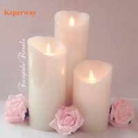 Ksperway 3pcs/set Realistic Moving Wick Flameless LED Vanilla Scented Wax Candles