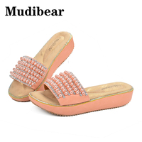 Mudibear Flat Platform Slippers Shoes High Heel Wedge Platform Slides String Bead Sandals Women Size 36