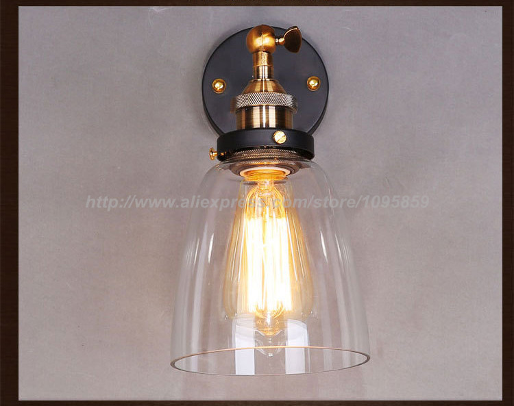 ФОТО Free Shipping Vintage Bedroom Clear Glass Bell Wall Lamp Light Fixtures Sconces Lighting