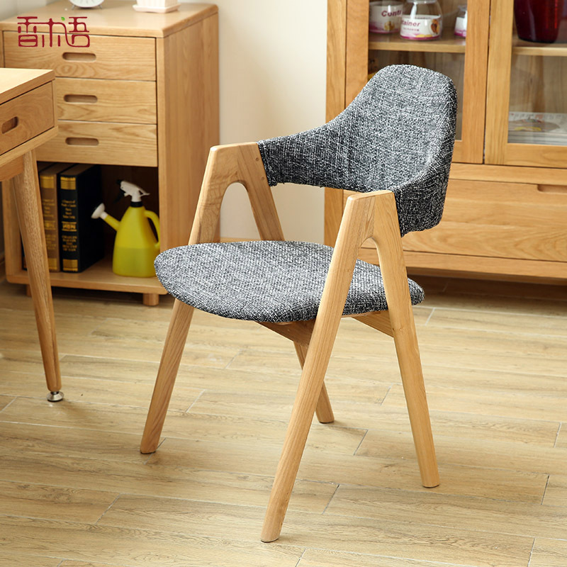 Nordic wood chair study chair simple single dinette modern armchair fashion soft bag wooden chair backrest on Aliexpress.com | Alibaba Group & Nordic wood chair study chair simple single dinette modern armchair ...
