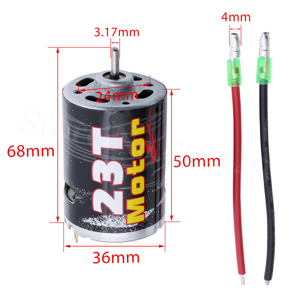 RC Electric Motor 23T 35T 45T 55T 60T Brushed 540 RS540 3.175mm Shaft DC 7.2V-12V Bullet Plugs for 1/10 Scale Remote Control Car hj 540 excellent motor w installation hole for 1 10 rc car