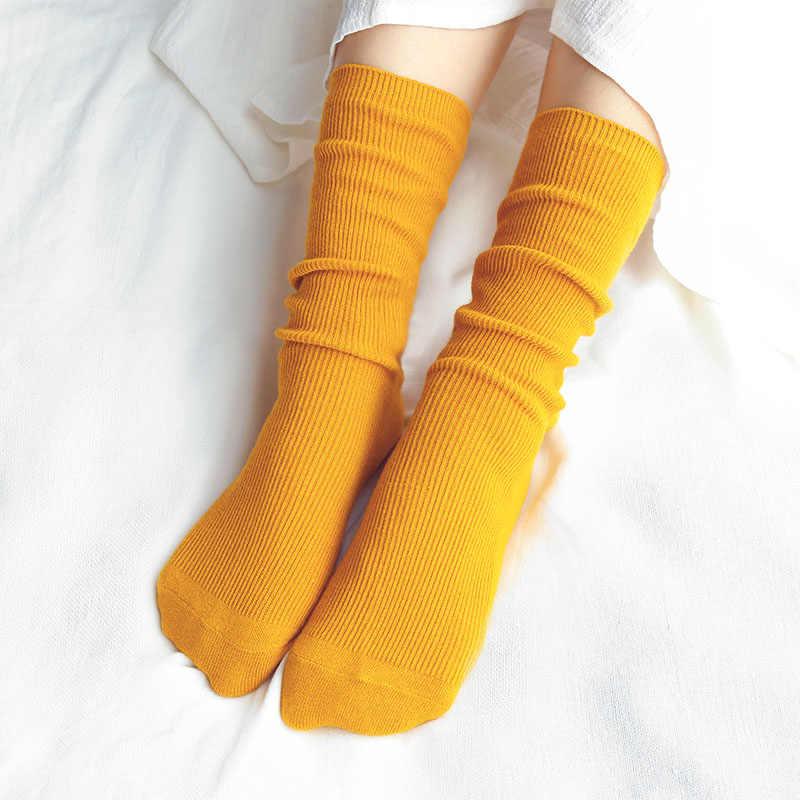 CHAOZHU, Corea japonesa, High School Girls, calcetines sueltos de colores sólidos, agujas dobles, calcetines largos de algodón para mujer