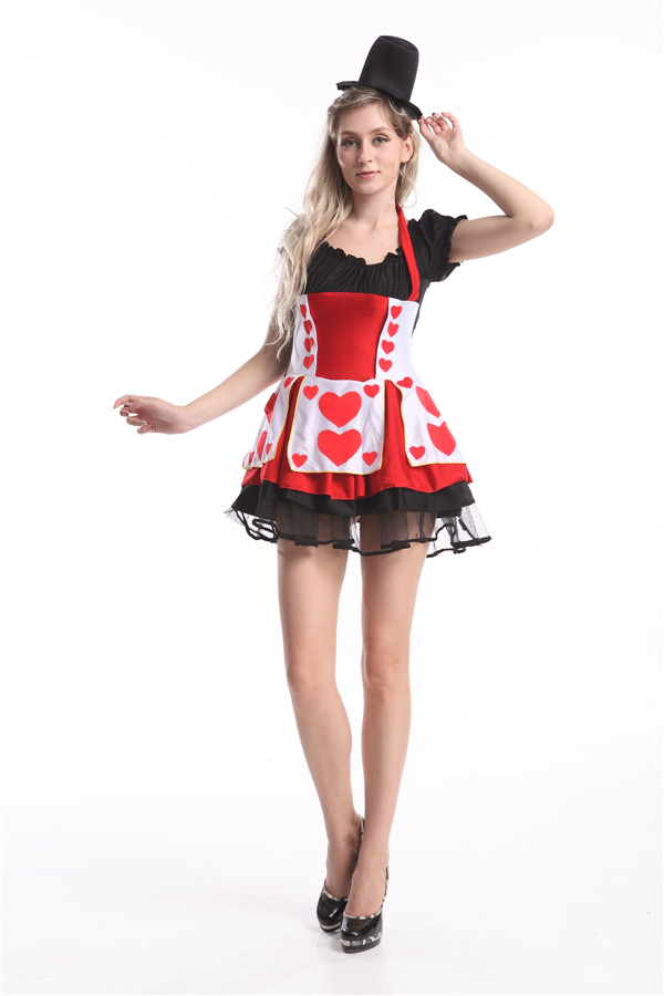 Red Queen of Hearts Alice In Wonderland Fancy Dress Halloween Costume With Hat 84625