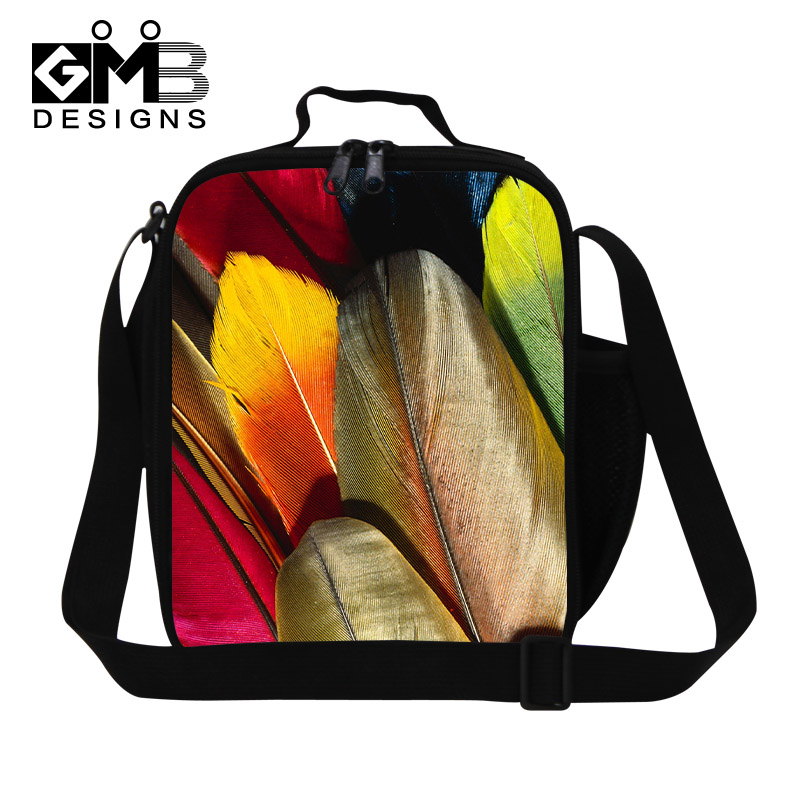 Thermal Insulated Lunch Bag For Kids Colorful Feather Lunch Box Students Shoulder Bag Womens Picnic Food Bag Bolsa Termica