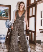 Hot Sale Fashion Boot cut jumpsuit Sequined V neck Backless Spaghetti Strap sexy women celebrity body con Jumpsuits wholesale