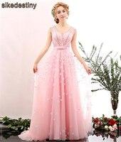 Real Photo Luxury Formal Long Gown Elegant Beading Handwork V Neck Prom Evening Dresses Robe De