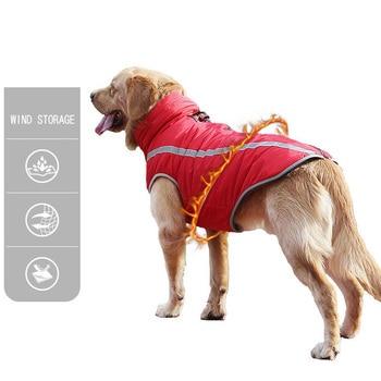 Waterproof Dog Clothes for Large Dogs Winter Warm Big Dog Jackets Padded Fleece Pet Coat Safety Reflective Design Dog Clothing