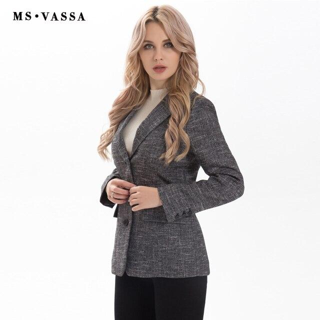 MS VASSA ladies blazer 2017 new fashion Spring Women three button closure blazer short form plus size XS 6XL work wear