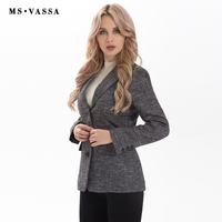 MS VASSA Ladies Blazer 2017 New Fashion Spring Women Three Button Closure Blazer Short Form Plus