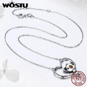Image 5 - WOSTU collar con colgante de koala para mujer y niña, de Plata de Ley 925 de alta calidad, joyería encantadora, regalo para novia BKN256