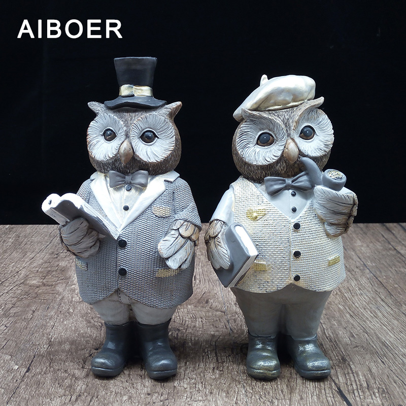 AIBOER Home Decoration Nordic Style Resin Statue Animals Owl Resin Home-Decor Decoration Maison Craft Gifts For Home Decor