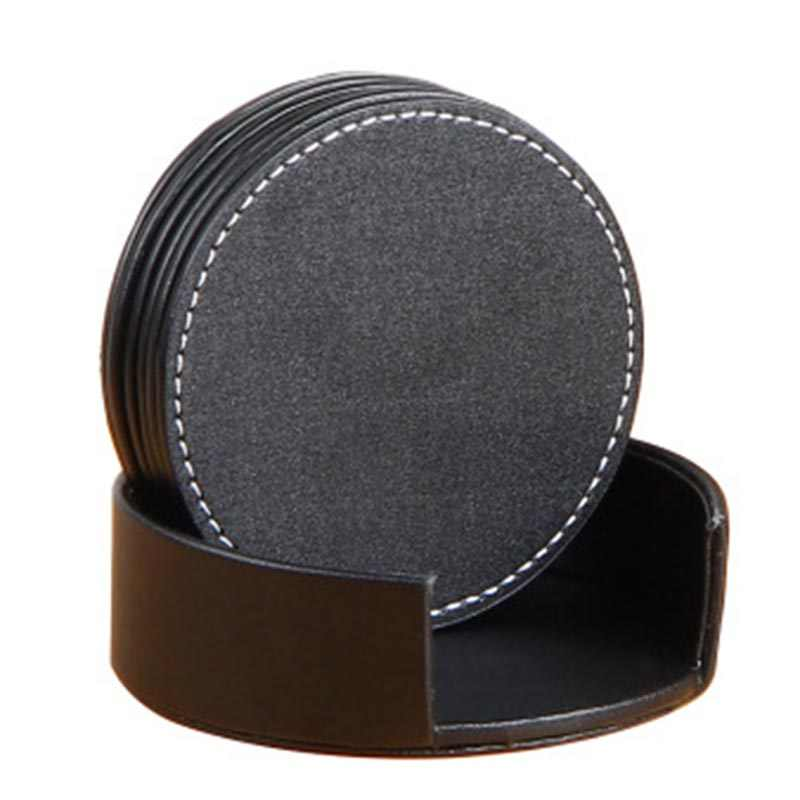6Pcs PU Leather Coasters Heat Isolated Waterproof Coasters for Table Home Simple and elegant Dining  coffee tables desks H99F