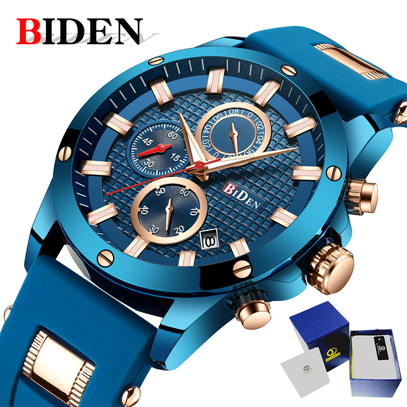 BIDEN men watches Military Army Sports quartz Watch Top Brand Luxury Fashion Casual waterproof Wrist watch men relogio masculino f400a sensor used in good condition