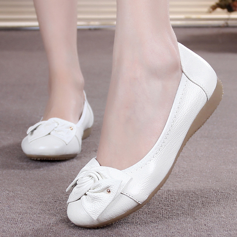Genuine Leather Shoes Women Solid Loafers Women Flats Ballet Spring Summer Flat Shoes brilliant genuine sheepskin leather flat heel single shoes 2016 spring summer square toe rhinestones black rose red ballet flats